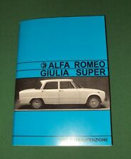 Uso e manutenzione Alfa Romeo Giulia S 1600 use and maintenance owner's manual-