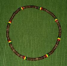 Rasta Necklace Brown Wooden Necklace Rasta Beaded Necklace Rasta Reggae Necklace