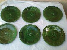 6 assiettes barbotine feuilles de vigne Gien