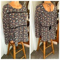 KNOX ROSE ROMANTIC BOHEMIAN BLACK FLORAL PEASANT BLOUSE TOP HIPPIE BOHO SZ S