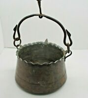 VTG HAND FORGED HAMMERED COPPER KETTLE POT HEARTH STOVE HEAVY IRON PIVOT HANDLE