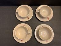 Calvin Klein NIGHTBLOOMS Set Of 4 Coffee, Tea Cups & Saucers