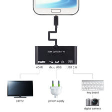 MHL HDTV Konverter HDMI USB-Mikro-OTG Kartenleser-Adapter für Samsung S3 S4 Tab3