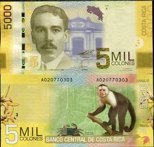 COSTA RICA 5000 5,000 COLONES 2009 (2012) MONKEY P 276 UNC