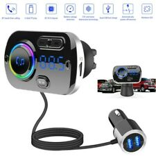 Bluetooth 5.0 Car FM Transmitter Handsfree MP3 Player USB Fast Charger Aux cable