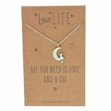 Sentiments Love Life Cat On The Moon Charm Necklace All You Need Is Love & a Cat