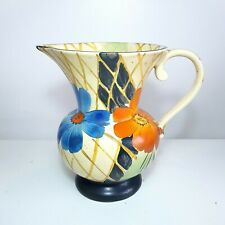 More details for 1930s art deco wade heath hand painted floral jug / pitcher