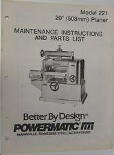 "Powermatic Model 221 20"" Planer Maintenance Instructions & Parts List"