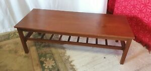 """Solid Teak 15.75""""H x 18.5""""W x 47.75""""L Coffee Table with Magazine Rack Under"""