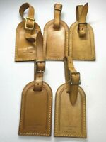Auth LOUIS VUITTON Name Tag 5 Piece Set Brown Leather for Bag France ⑦