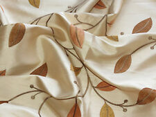 """Beige fabric w brown embroidered leaves 140x180cm (56x68"""")"""