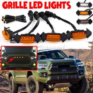 4X Raptor Style Amber Lens Grille LED Lights For Toyota Tacoma TRD Pro 2016-2021