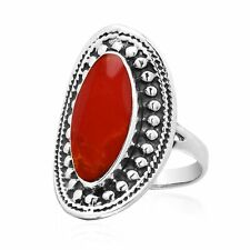 Vintage Framed Oval Synthetic Red Coral & Sterling Silver Statement Ring - 8
