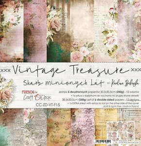 "12"" x 12"" scrapbooking paperpad cardstock Vintage Treasure 7 sheets 250gsm"