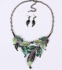 Fashion Leaves Women Crystal Pendant Chain Statement Bib Necklace Earrings Set