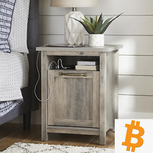 Nightstand, Rustic White - USB Integration  - Charge Your Phone - NEW