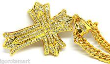 """36"""" pollici Uomo 18k oro riempito collana con pendente Croce Ghiacciato catena gioiello regalo"""