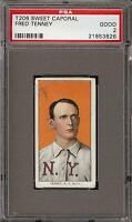 Rare 1909-11 T206 Fred Tenney Sweet Caporal 150 Factory 25 New York PSA 2 GD