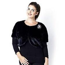 Julia K Faux Fur Bolero with Brooch Detail Size Large New