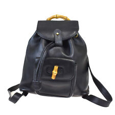 Authentic GUCCI Logos Bamboo Mini Backpack Bag Leather Black Gold Italy 37MB235