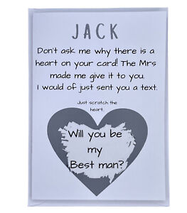 Funny Personalised Best Man Card! Will You Be My Best Man?Wedding, Scratch Card