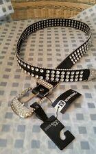 NWT*Women's Belt Flashy Rhinestone/w Black Sz M Jeweled White Chrystal BLING