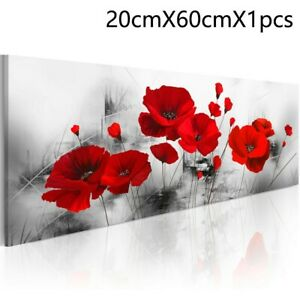 Large Canvas Prints Red Poppy Rose Flower Canvas Printed Art Painting Wall Decor