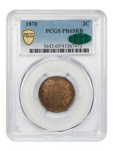 1870 2c PCGS/CAC PR 65 RB - 2-Cent Piece - Low Mintage Proof