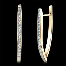 Women Wedding Party Jewelry Romantic Champagne Gold Plated Zircon Hoop Earrings