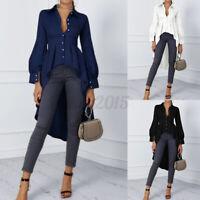 US STOCK Womens Long Sleeve Casual Shirt Blouse Button Asymmetrical Hem Tops
