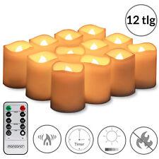 12 bougies LED en cire - télécommande, piles, minuterie, effet flamme dansante