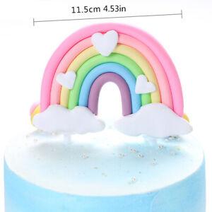 Rainbow Cake Topper Unicorn Cloud Cake Flag Decor Kids Birthday Party Decoration