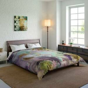 Lilac Bliss Mosaic Design Abstract Art Polyester Comforter Artistic Quilt Blanke