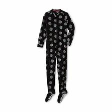 Joe Boxer Women's Fleece One Piece Footies PJ Pajama Snowflakes Black  1X