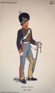 "Vintage Print, British Military Uniform ""Gunner: RHA 1812-1815"" Institute Army"