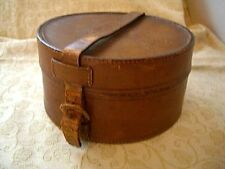 "Vintage Brown Gents Leather Collar Box With Leather Strap - 6.25"" diameter"