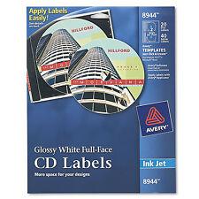 Avery Inkjet Full-Face CD Labels Glossy White 20/Pack 8944