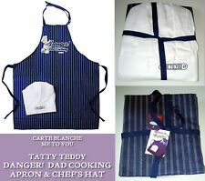 Tatty Teddy DANGER DAD COOKING APRON & CHEF HAT Navy Blue White FATHERS DAY GIFT