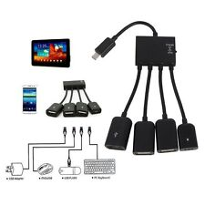 OTG 4 Hub Power Micro USB Port Host Power Charging Adapter Cable for Samsung HTC
