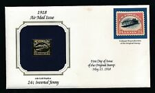"""U.S. """"JENNY INVERT"""" 22K GOLD REPLICA; FIRST DAY OF ISSUE COVER"""