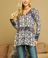 Floral Top Size 10 Navy Blue Ladies Womens Long Tunic With Long Sleeves