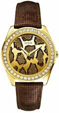 Guess Ladies 3D Animal Print Watch brown python leather W0056L2 Gold crystals