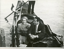 Actrice Mary Pickford avec son mari Buddy Rogers à Venise, 1939, vintage silver