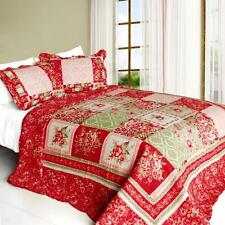 3 PC Chinese Wedding Floral red pink tan 100% Cotton Queen Quilt Shams