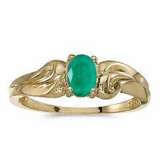 10k Yellow Gold Oval Emerald and Diamond Ring Size 10