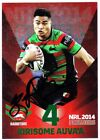 KIRISOME AUVA'A SOUTH SYDNEY RABBITOHS 2014 ESP NRL PREMIERS RED SIGNED CARD