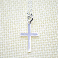 """Shiny Solid 925 Sterling Silver Small Religious Cross 17.7"""" Chain Necklace Gift"""