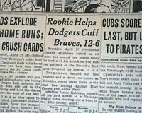 JACKIE ROBINSON First 1st Hit by a Black in MLB Baseball History 1947 Newspaper