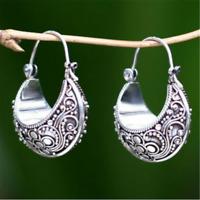 Retro Boho Tibetan Carving 925 Silver Pendant Hoop Jewelry Stud Earrings Gift