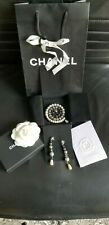 RARE 2015 Chanel Tricolor Pearl Large Brooch Pin /dangle earrings set NIB papers